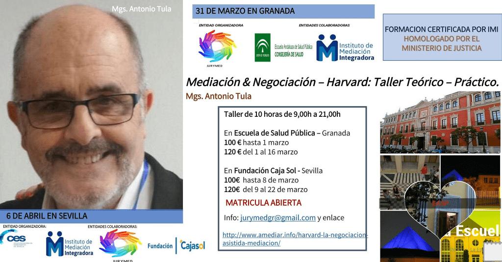 """Taller teórico-práctico: """"Harvard y la Negociación Asistida en Mediación"""" con Antonio Tula"""