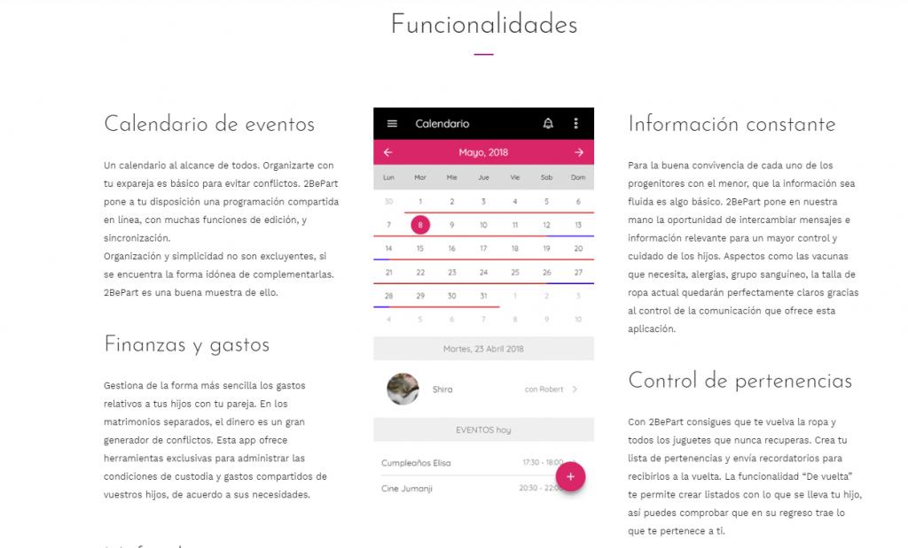 Algunas de las diferentes funcionalidades que tiene la app '2BePart'